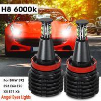 2x H8 40W LED Angel Eyes Standlicht Aluminium 6000K Weiß Für BMW E92 E93 E63 E70