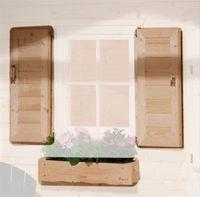 Weka Fensterladen und Blumenkasten natur für Gartenhaus 123 Gr. 3+4