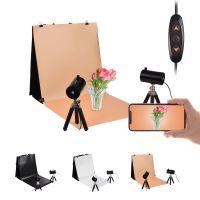 NiceFoto 40 * 40 cm / 16 * 16 Zoll tragbares Desktop-Fotografie-Lichtzelt-Kit mit 1 * zusammenklappbarer Lichtbox + 2 * einstellbaren LED-Leuchten + 2 * Mini-Stative + 3 * Hintergruende (orange / weiss / schwarz) + 4 * Hintergrundclips