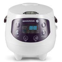 Digitaler Reishunger Mini Reiskocher (0,6l/350W/220V) Multikocher mit 8 Programmen, Schwarz, 7-Phasen-Technologie, Premium-Innentopf, Timer- und Warmhaltefunktion – Reis für bis zu 3 Personen