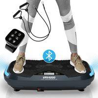 Kinetic Sports 4D Vibrationsplatte VPX4000 im Curved Design | 3 leistungsstarke Motoren mit 1100 Watt | Exklusiv & Gelenkschonend | L 4.0 Bluetooth Lautsprecher mit LED Rhythmus-Blenden für intuitives Training| Fernbedienung | Highend Oszillation | GRAU
