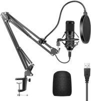 Studio Kondensator USB Mikrofon Computer PC Mikrofon Kit mit verstellbarem Scherenarm Ständer Shock Mount