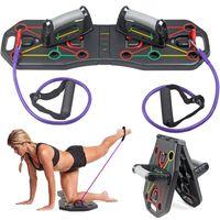 Multifunktionsklappbares Push-Up-Board-System mit Widerstandsrohrbaendern Pull-Rope-Bodybuilding-Training Work-Up-Push-Up-Stand-Board