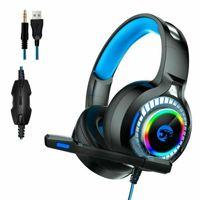Gaming Headset Kopfhörer 3.5mm LED Mikrofon für PC Laptop PS4 Xbox One Switch LED Licht Lautstärkeregler