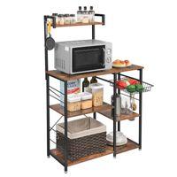 VASAGLE Küchenregal mit Metallkorb Bäckerregal mit 6 S-Haken und Regale Standregal Mikrowellenregal Gewürzregal Vintage dunkelbraun KKS35X