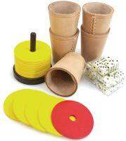Ludomax Schocken Set W/ürfel und Block Schock Besteck W/ürfelbecher mit Unterlage