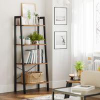 VASAGLE Bücherregal, 56 x 34 x 137,5 cm, 4 Ebenen stabiles Metallgestell, einfache Montage, vintagebraun-schwarz LLS44X