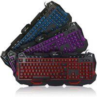 Allreli Ergonomi Gaming Tastatur mit Beleuchtung Gamer PC Keyboard beleuchtet 3 Farben Deutsche Layout