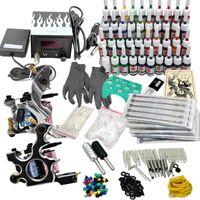 Tattoo Maschine Kit Tätowierung  40 Farben Tinte 2 Tätowier Maschine Komplett set Tattoo Gun Netzgerät für Anfänger (D238)