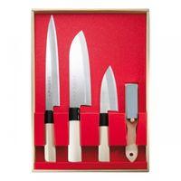 Kochmesser-Set japanischer Art, 3 Messer Und Abziehstein Stahl 420J2 Holzgriff