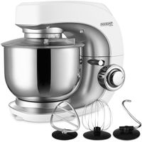 Monzana Küchenmaschine 7 Leistungsstufen Rührmaschine Pulsfunktion 1000W/1200W Planetarisches Rührsystem 4tlg Zubehör, Farbe:Weiß 4.5L