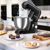 COSTWAY 1300W Küchenmaschine 4L Knetmaschine, Rührmaschine 6 Stufen, Teigmaschine mit Edelstahl Rührschüssel, Knethaken, Schneebesen und Rühr-/Schlagbesen Schwarz