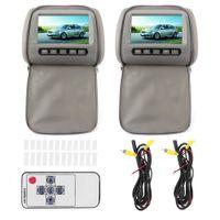 2 STÜCKE 7 in HD Auto Kopfstütze LCD-Video-Player mit Reißverschlussverschlussabdeckung Fernbedienung MP5-Anzeige