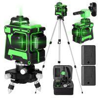 Kreuzlinienlaser profi 3D Laser Level 12 Lines Grünes 360º Rotationslaser (Arbeitsbereich: 30 m) mit 1,5 m 3 Höhen verstellbarem stativ IP54 Staub & Wasserschutz Automatische lasermessgeräte mit zwei Batterien