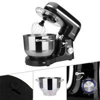 AREBOS Küchenmaschine 1500W 6L Edelstahl-Rührschüssel 6 Stufen Geräuschlos Schwarz