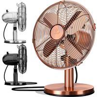 KESSER® - Tischventilator Design Retro Voll-Metallgehäuse 80° Oszillation - leise Ventilator mit 3 Geschwindigkeitsstufen - Zuschaltbare | Windmaschine | Neigungswinkel ca. 40° Metall, Farbe:Kupfer