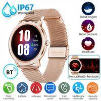 Damen SmartWatch Smartband IP67 Wasserdicht Schlafüberwachung Armband Sport Fitness für Android IOS , Rosegold