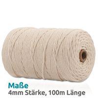 VOYAL Makramee Garn - 100m (Stärke: 4mm) - 100% Natürliches, gezwirntes Baumwolle Garn