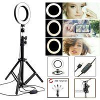 LED Ringlicht Ringleuchte Fotolicht Studiolicht Lampe Selfie Handy Stativ,mit USB,für Live YouTube une Makeup,16cm