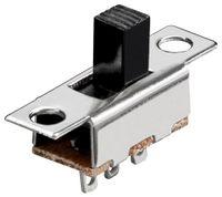 Wentronic Schiebeschalter, Silber - 1x UM, 3 Pins, Silber/Messing