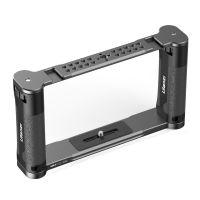UURig R069 Universal DIY Metallvideokaefig Vlog Rig Handstabilisator mit 1/4 Zoll Schraube Doppelkaltschuhhalterungen fuer Smartphone ILDC Action Kamera Videoaufzeichnung