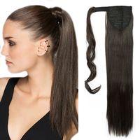 S-noilite Ponytail Clip in Pferdeschwanz Extension Haarteil Haarverlängerung Zopf Hair Piece Glatt wie Echthaar Dunkelbraun 58.5 cm