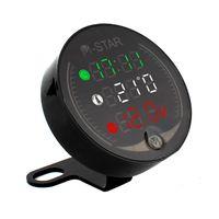 3 In 1 Motorrad ATV Voltmeter + Elektronische Uhr + Thermometer Digitale LED Temperatur Spannungspruefer