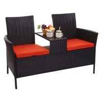 Poly-Rattan Sitzbank mit Tisch HWC-E24, Gartenbank Sitzgruppe Gartensofa, 132cm  schwarz, Kissen terrakotta