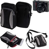 Für Panasonic Lumix DMC-TZ202 Gürtel Tasche Holster Umhänge Tasche Fototasche Schutz Hülle für Panasonic Lumix DMC-TZ202, schwarz-grau +