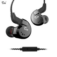 TRN V80 3.5mm In-ear Headphones 2DD+2BA Hybrid HiFi Sports Headset Music Earphone 2pin Detachable Cable In-line Control with Mic[Schwarz]