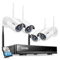 ZOSI Außen WLAN 1080P Überwachungssystem 8CH NVR mit 4 HD 1080P Funk Überwachungskamera Set mit 1TB Festplatte
