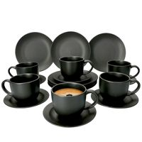 18-tlg. Kaffee-Service Lampart Nero 6 Personen I Tasse + Untertasse + Teller
