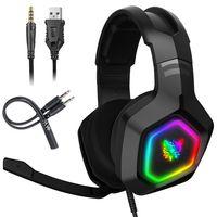 ONIKUMA K10 Gaming Headset Stereo Bass Surround RGB Gamer kabelgebundener Kopfhörer mit Mikrofon für PS4 Xbox One PC