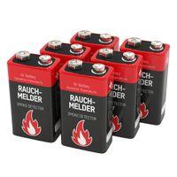 ANSMANN 9V E-Block Alkaline Batterie speziell für Rauchmelder 6er Pack