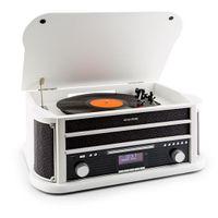 auna Belle Epoque 1908, Retroanlage, Plattenspieler, Stereoanlage, Digitalradio, DAB+, Plattenspieler, Radio-Tuner, Bluetooth, CD-Player, MP3-fähig, RDS, Kassettendeck, USB-Port, weiß
