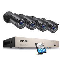 ZOSI 8CH 1080P H.265+ 4in1 DVR mit 1TB Festplatte und 4X 1080P Außen Sicherheitskamera Video Überwachungssystem, 24M IR