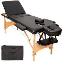 tectake 3 Zonen Massageliege mit Polsterung und Holzgestell - schwarz