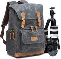 Kamerarucksack Kameratasche, Wasserdicht Canvas Leinenstoff und Echt-Leder Rucksack, 15,6 Zoll Laptop Rucksack, Fotorucksack für Kamera Zubehör und Outdoor Sport Reise, Grau