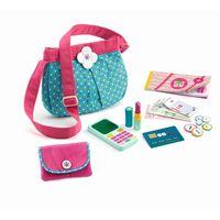 DJECO Kinder Handtasche mit Handy, Lippenstift und Accessoires