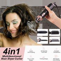 4 in1 Multifunktion Glätteisen Lockenstab Elektrisch Glättbürste Haarbürste DE
