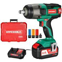 Akku Schlagschrauber, HYCHIKA 350N·m Schlagschrauber mit 4,0 Ah 18 V Batterie, Adapter für 10 mm Dorn und Aufbewahrungsbox für Radschrauben