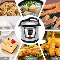 Bigzzia Reiskocher | Dampfkochtopf | Pressure Cooker | Slow Cooker | Schnellkochtopf 6liter | Warmhaltefunktion | Edelstahl | 1000 W | Silber und Schwarz