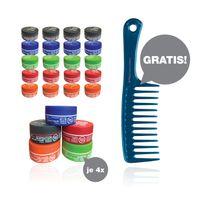 RedOne Aqua Wax Full Force Farbenmix Haarwachse 20 x 150 ml + HairForce Blue Version Griffkamm gratis