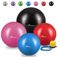 TRESKO Gymnastikball (Schwarz, 55cm) mit Pumpe Fitnessball Yogaball Sitzball Sportball Pilates Ball Sportball
