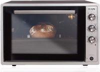 ICQN 60 Liter Mini-Öfen   1800 W   Mini-Backofen mit Innenbeleuchtung und Umluft   Pizza-Ofen   Doppelverglasung   Drehspieß   Timer Funktion   Emailliert   Inox Grau