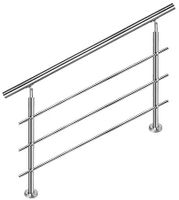 Hengmei 150cm Treppengeländer Edelstahl-Handlauf Geländer Geländerstäben Terrassengeländer Bausatz Treppen (150m,3 Querstreben)