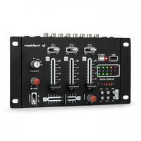 auna DJ-21 - DJ-Mixer , 3/2-Kanal Mischpult , DJ-Mischpult , USB-Port , MP3-fähig , 2 x Cinch-Phono/Line-Eingang , CUE-Regler , Mikrofonsektion , XLR-/Klinken-Eingänge , Rackmontage , schwarz