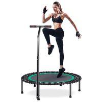 HOMEOW Klein Trampolin Fitness Jumping Trampolin Grün Drinnen mit T-Stange Leise 100cm Mini-Fitness-Trampolin Indoor mit verstellbarem Haltegriff Anti-Rutsch-Fußpolster Nutzergewicht bis 200kg