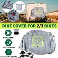 Fahrradschutzhülle Abdeckung + Warntafeltasche + Befestigungs-Set Für Wohnmobil Grau