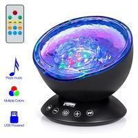 Fernbedienung LED Ocean Wave Lichtprojektor 7 Farben Licht Eingebauter Musik-Player, Schwarz